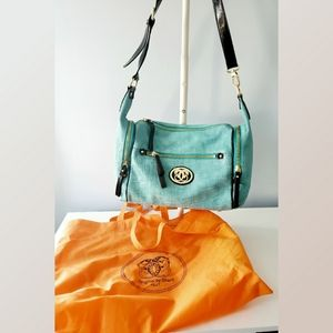 Sharif Turquoise and Brown Leather Shouder Bag